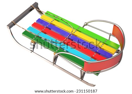 sledge. isolated on white background. 3d - stock photo