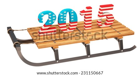 sledge, year, new year, 2015. isolated on white background. 3d - stock photo