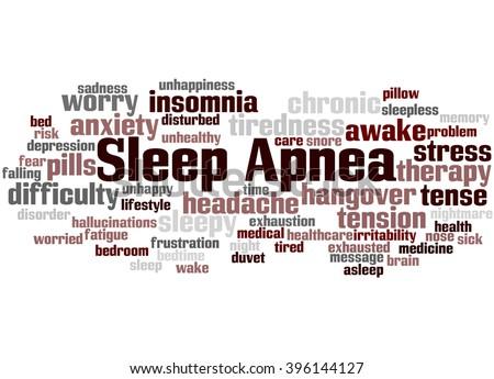 Sleep Apnea, word cloud concept on white background. - stock photo