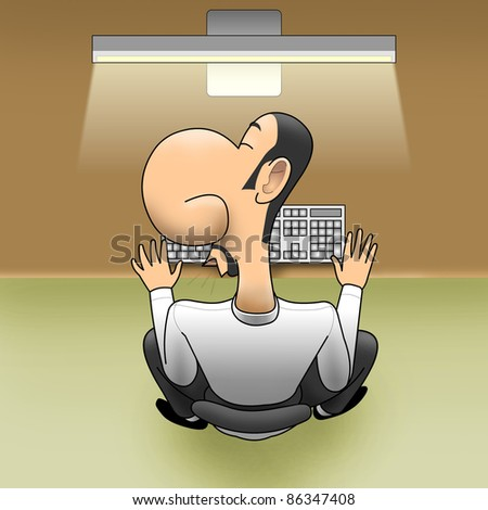 Sleep on workplace - stock photo