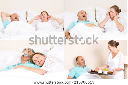Sleeping apnea, snoring, stress. Peaceful nights, happy morning with CPAP machine, devise, of middle aged couple. Healthcare management patient of sleep apnea. Human respiratory airway system health - stock photo