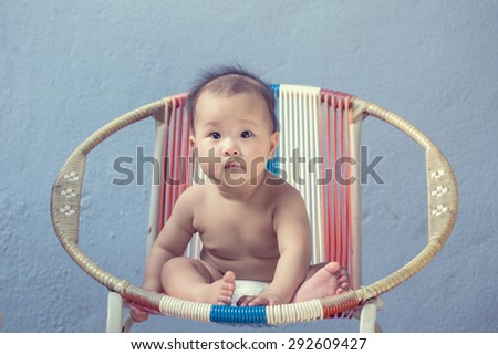 Sleeping Asian baby with white background - stock photo