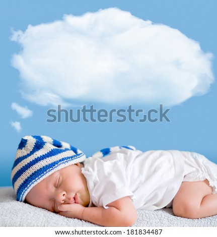 sleeping baby closeup portrait with dream cloud for image or text - stock photo