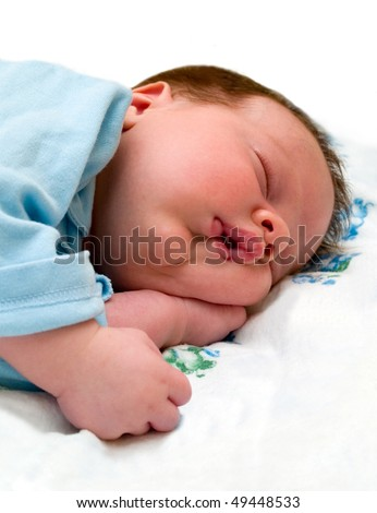 sleeping baby. isolated on white - stock photo
