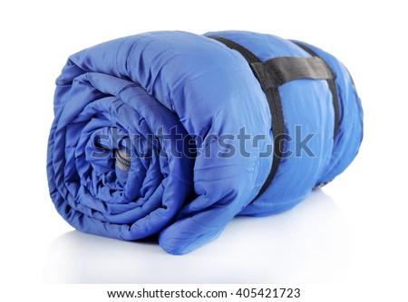 Sleeping bag, isolated on white - stock photo