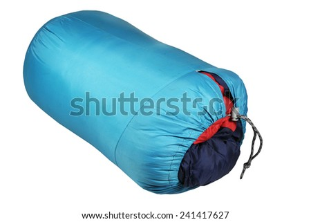 Sleeping bag it is isolated on a white background - stock photo
