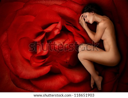 Sleeping beautiful woman lying on a huge red rose - stock photo