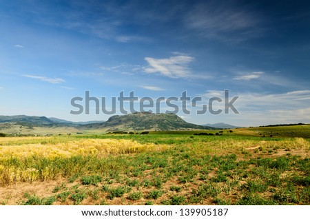 Sleeping Giant Mountain Colorado and Praire   - stock photo