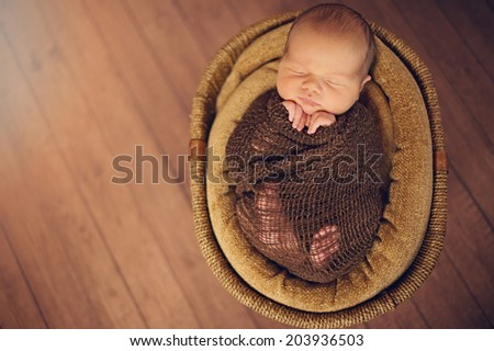 Sleeping Newborn Baby in Basket - stock photo
