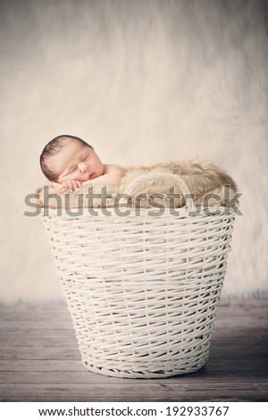 Sleeping Newborn Baby in Basket on Wooden Floor - stock photo