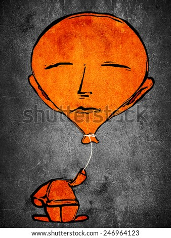 sleeping orange man with ballon head - stock photo