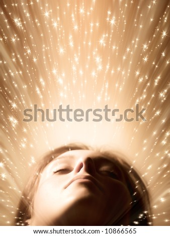 Sleeping woman face. Fairy stars, red tint and soft focus. - stock photo