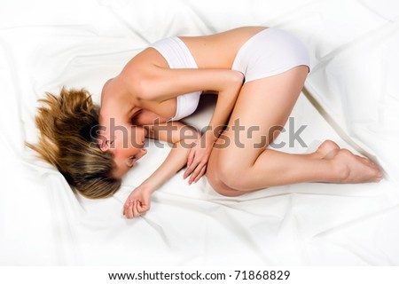 Sleeping young beautiful woman - stock photo