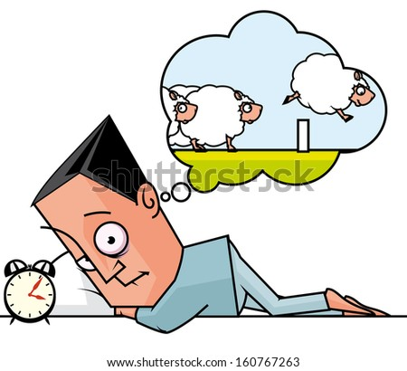 Sleepless man counting sheeps - stock photo
