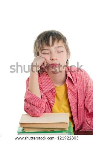 sleepy, tired student - stock photo