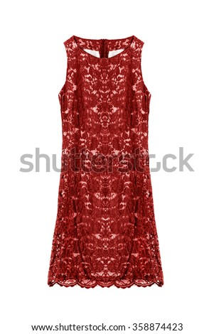 Sleeveless red lacy dress on white background - stock photo
