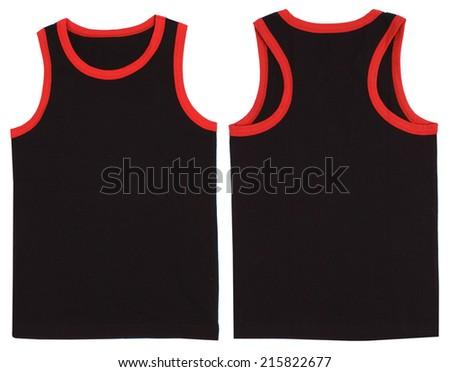 Sleeveless unisex shirt front and back view. Isolated on white background. - stock photo