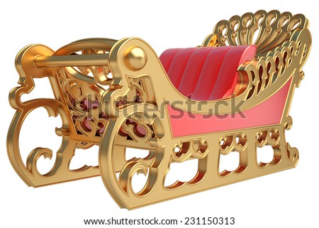 sleigh of Santa Claus, isolated on white background. 3d - stock photo