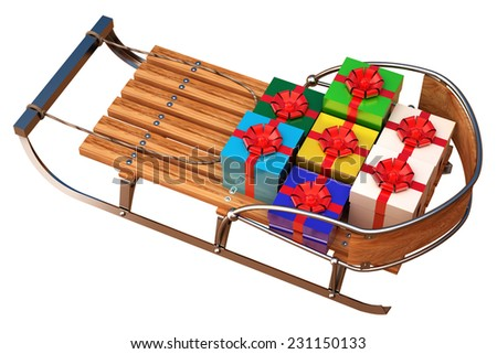 sleigh with gifts. isolated on white background. 3d - stock photo