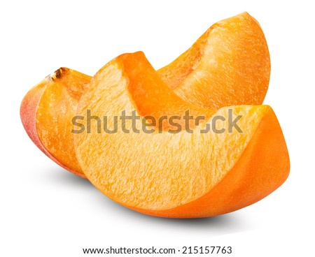 slice apricots isolated on white background. Clipping Path - stock photo