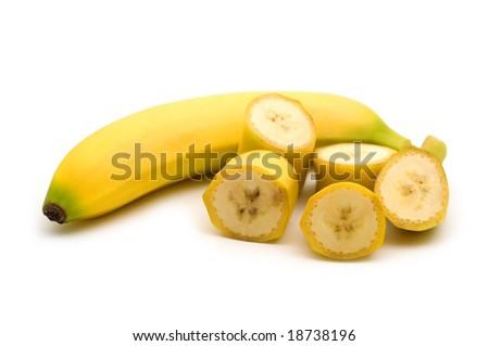 slice banana on white background - stock photo