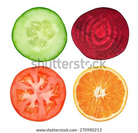 slice cucumber,tomato,orange and beetroot on white  - stock photo