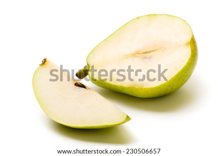 Slice cut pears fruit on white background - stock photo
