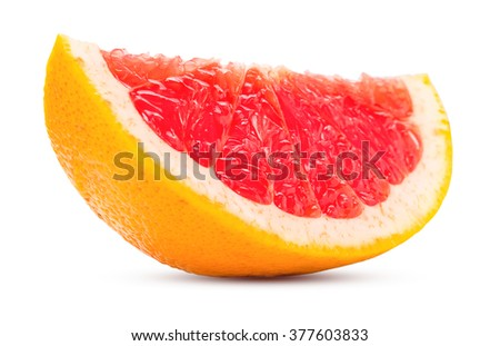 slice grapefruit citrus fruit fresh and juicy isolated on white background with clipping path - stock photo