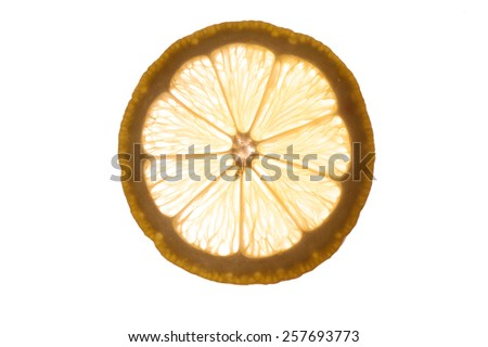 Slice of an lemon   isolated on white background back lit - stock photo