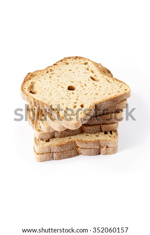 Slice of black rye bread, isolated on white  - stock photo