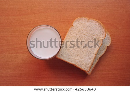 Slice of bread and Milk Delicious. For breakfast in day hurry. - stock photo