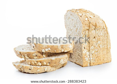 slice of bread wheat isolated on white background, selective focus (detailed close-up shot)  - stock photo