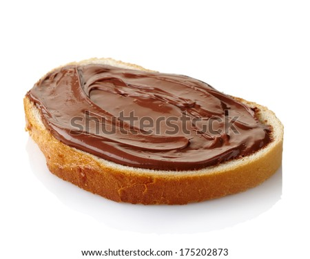 Slice of bread with chocolate cream isolated on white background - stock photo