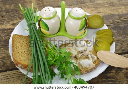 slice of bread with lard on board background - stock photo