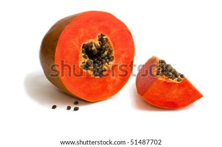 Slice of bright orange sweet mellow papaya isolated on white - stock photo