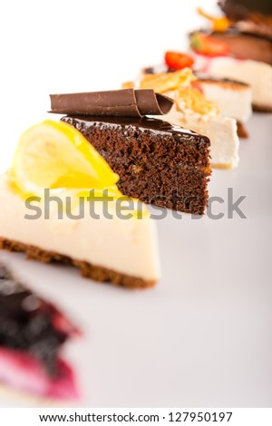 Slice of cake selection delicious tart choice sweet baked pastry - stock photo