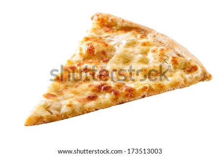 slice of cheese pizza close-up isolated on white background  - stock photo