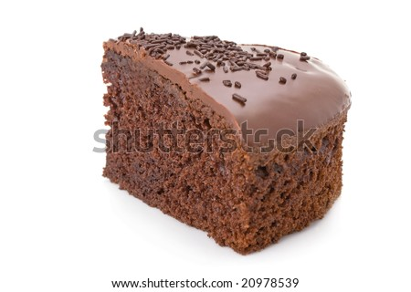 Slice of chocolate fudge cake with sprinkles detail on white - stock photo