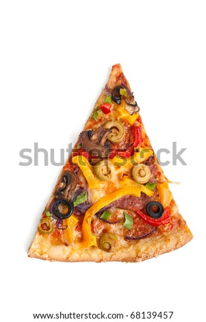 slice of colorful vegetable, mushroom and pepperoni pizza on white background - stock photo