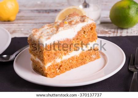 Slice of delicious Carrot Cake.  - stock photo