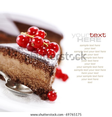 slice of delicious chocolate cake over white (easy removable sample text) - stock photo