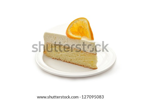 Slice of delicious ice cake with orange isolated on white - stock photo