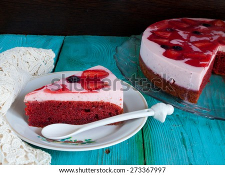 Slice of delicious strawberry cake - stock photo