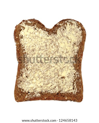 Slice of fresh buttered wholemeal bread isolated on white background. - stock photo