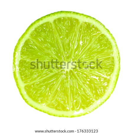 Slice of fresh lime, isolated on white - stock photo