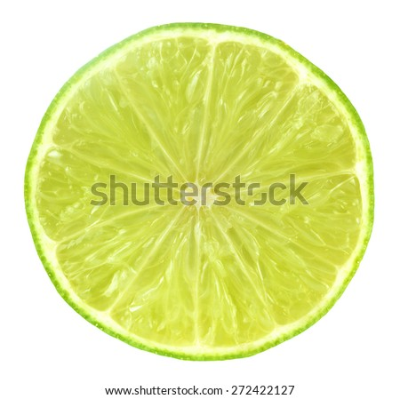 Slice of fresh lime isolated on white background. - stock photo