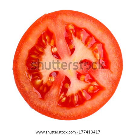 Slice of fresh tomato, isolated on white - stock photo