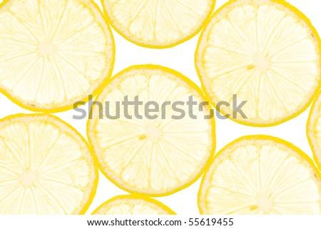 slice of fresh yellow lemon, background and organic texture - stock photo
