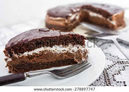 Slice of homemade chocolate cake - stock photo