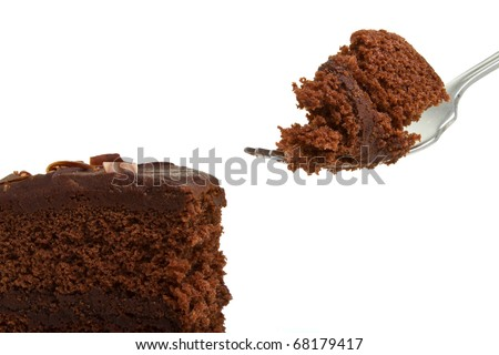Slice of homemade Chocolate Cake with fork isolated on white. - stock photo
